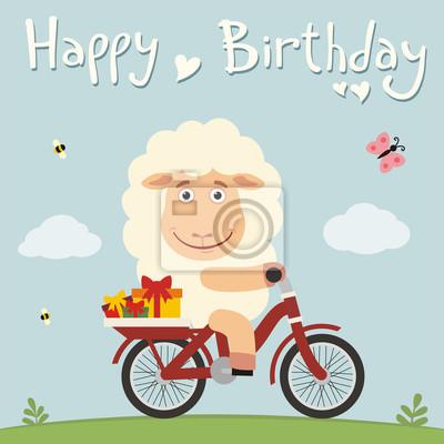 Alles Gute Zum Geburtstag Lustige Schafe Auf Dem Fahrrad Mit