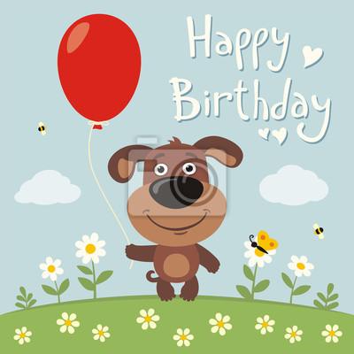 Alles Gute Zum Geburtstag Lustige Welpen Hund Mit Roten Ballon