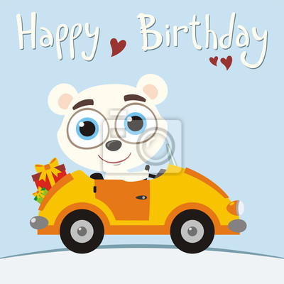 Alles Gute Zum Geburtstag Lustiger Eisbar Der Im Auto Mit