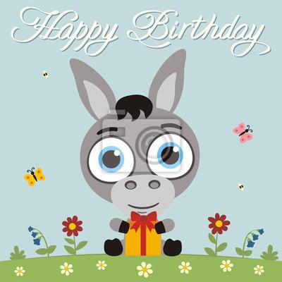 Alles Gute Zum Geburtstag Lustiger Kleiner Esel Mit Geschenk