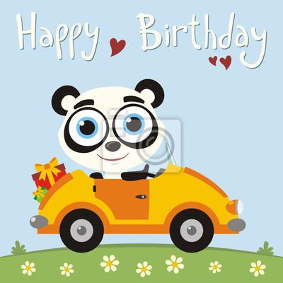 Alles Gute Zum Geburtstag Lustiger Pandabar Der Im Auto Mit