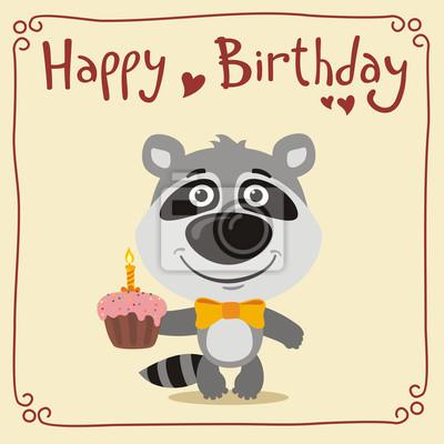 Alles Gute Zum Geburtstag Lustiger Waschbar Mit Geburtstagskuchen