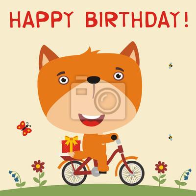 Alles Gute Zum Geburtstag Nette Fuchsfahrten Auf Fahrrad Mit