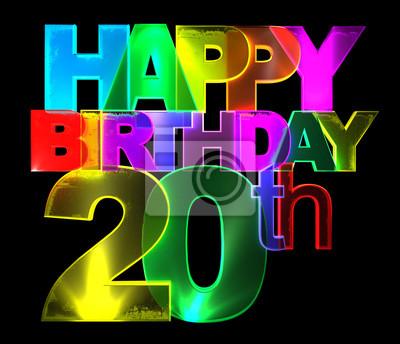 Alles Gute Zum Geburtstag Bunte 3d Buchstaben 20 Leinwandbilder