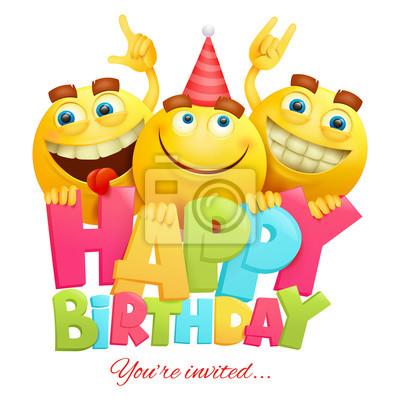 Alles Gute Zum Geburtstag Einladungskarte Vorlage Mit Drei Emoji