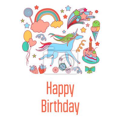 Alles Gute Zum Geburtstag Feiertagskarte Mit Süßigkeiten Sternen