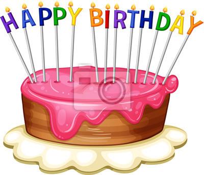 Alles Gute Zum Geburtstag Kartenschablone Mit Rosa Kuchen