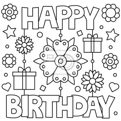 Alles Gute Zum Geburtstag Malvorlage Vektor Illustration