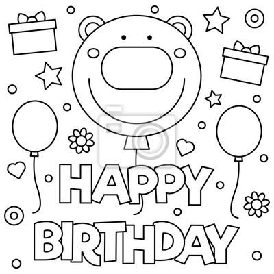 Alles Gute Zum Geburtstag Malvorlage Vektor Illustration Leinwandbilder Bilder Myloview De