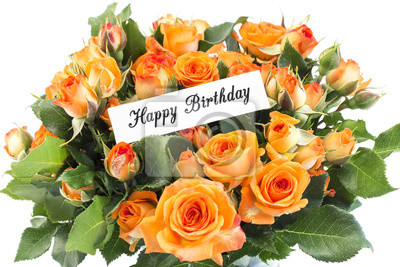 Bild Alles Gute Zum Geburtstagkarte Mit Blumenstrauß Der Orange Rosen
