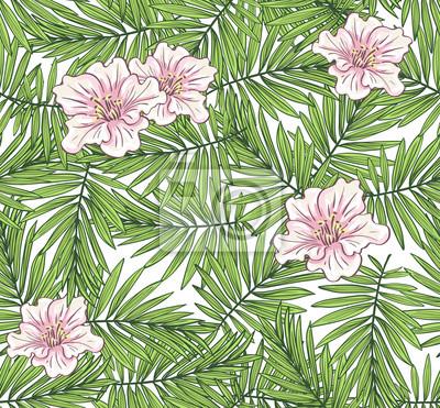Aloha hawaii illustration, palmenblätter mit blumen auf dem weißen ...