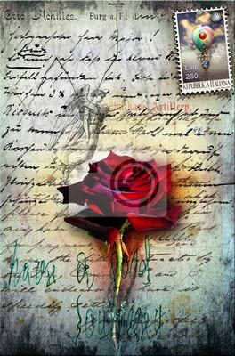 Alt Brief mit roten Rose, und Briefmarke