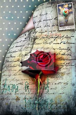 Alt Brief mit roten Rose und Stempel
