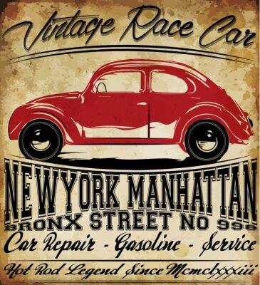 Bild Alte Auto-Weinlese-klassischer Retro Mann T-Shirt Grafikdesign