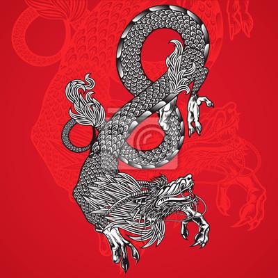Alte chinesische Drache und rotem Hintergrund, Vektor-Bild Eps10.