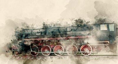 Bild Alte Dampflokomotiven des 20. Jahrhunderts. Aquarell Hintergrund