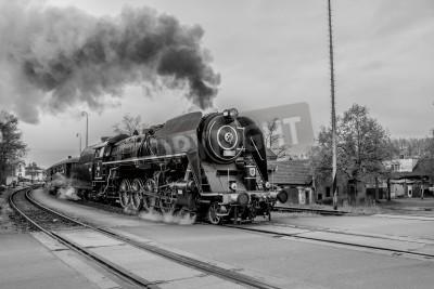 Bild Alte Dampfzug in schwarz und weiß