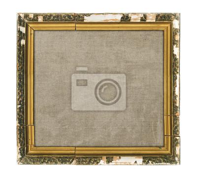 Bild Alte hölzerne Bilderrahmen mit leeren Leinwand isoliert auf weißem Hintergrund