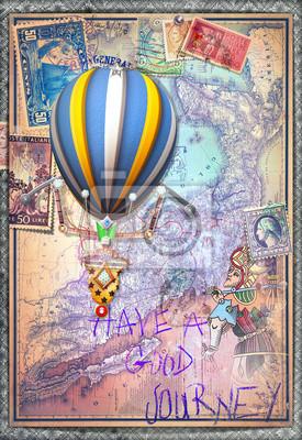 Alte Karte mit Heißluftballon und Tarock Abbildung