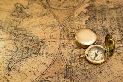 Bild Alte Kompass auf Vintage-Karte