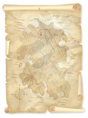 Bild Alte Piraten Schatz Insel Karte mit markierten Standort, Vektor-Illustration