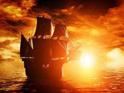 Bild Alte Piratenschiff Segeln auf dem Meer bei Sonnenuntergang