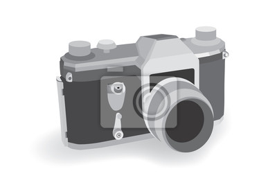 Alte Retro analogen Kamera auf weißem Hintergrund, Vektor-