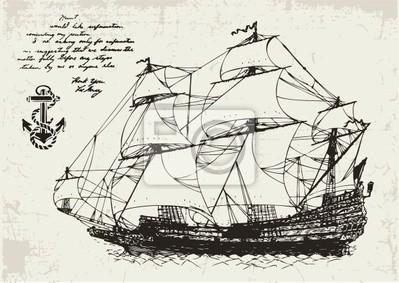 Alte Segelschiff und Anker