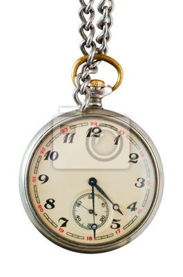 Alte Taschenuhr auf einer Kette auf weißem Hintergrund