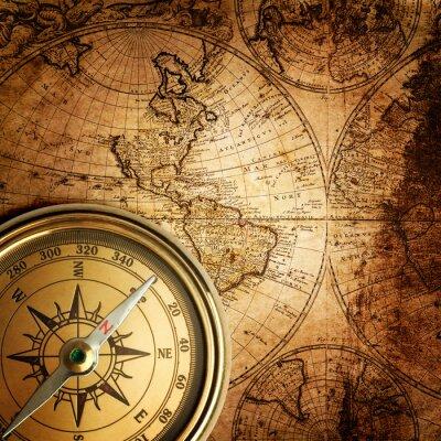 Bild alten Kompass auf Vintage-Karte 1746