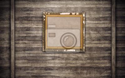 Bild Alter hölzerner Bilderrahmen auf Holzwand