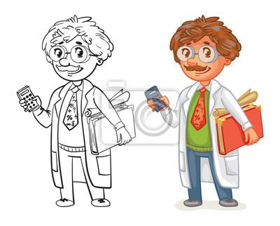 Alter Professor Im Labormantel Lustige Zeichentrickfilm Figur