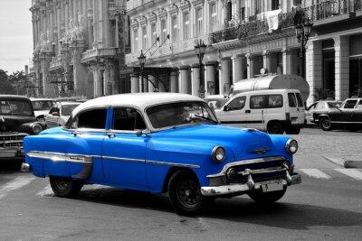 Bild Altes blaues amerikanisches Auto in Havana, Cuba