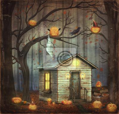 Altes Haus in einem Märchenwald unter Bäumen und scary Halloween Kürbisse