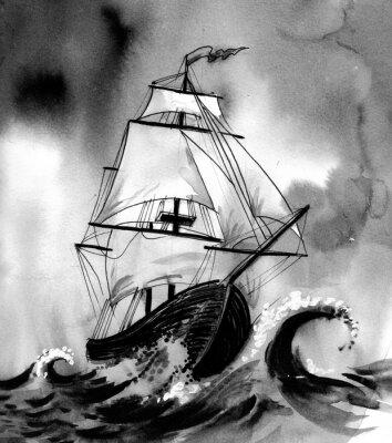 Bild Altes schiff im stürmischen meer