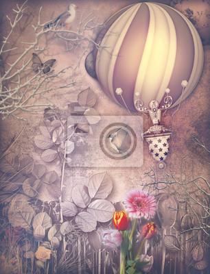 Altmodische Landschaft mit montgolfier und Blumen