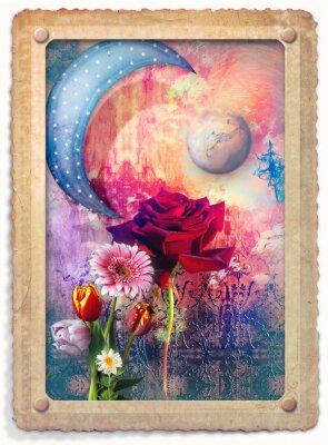 Altmodische Postkarte mit roten Rose und anderen Blumen