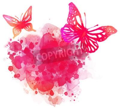 Bild Amazing Aquarell Hintergrund mit Schmetterling. Vector Kunst isoliert auf weiß