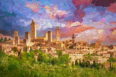 Bild Amazing landscape view of San Gimignano is a small walled medieval hill town during colorful evening sunset in summer time, Tuscany, Italy.- oil painting