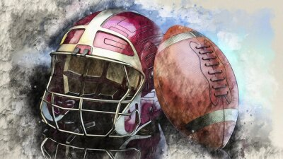 American football Gold-Red helmet and Gold-Brown Ball illustration combined pencil sketch and watercolor sketch. 3D illustration. 3D CG. High resolution.