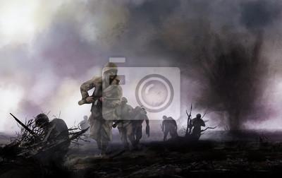 Bild Amerikanische Soldaten auf dem Schlachtfeld. WW2 Abbildung der amerikanischen Soldaten platoon Angriff auf ein Schlachtfeld mit Explosionen und Nebel Hintergrund.