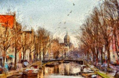 Bild Amsterdam-Kanal am Morgen impressionistischen Malerei