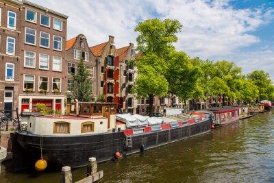 Bild Amsterdam Kanäle und Boote, Holland, Niederlande.