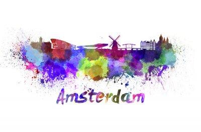 Bild Amsterdam skyline in watercolor