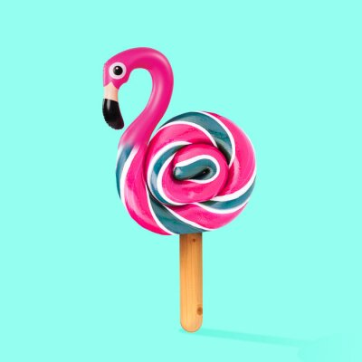 Bild An alternative sweets. Candy as a flamingo on the wooden stick on blue background. Negative space to insert your text. Modern design. Contemporary art. Creative conceptual and colorful collage.