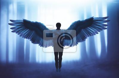 Bild An angel in mystic forest,3d illustration