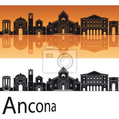 Bild Ancona Skyline im orangefarbenen Hintergrund