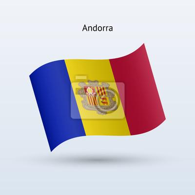 Andorra Fahnenschwingen Form. Vektor-Illustration.