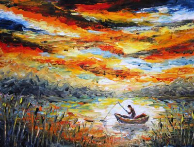 Bild Angeln, Wolken, Fluss. Sonnenuntergang, Malerei. Spachtel