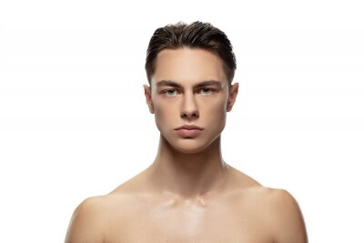 Bild Anger. Portrait of young man isolated on white studio background. Caucasian attractive male model. Concept of fashion and beauty, self-care, body and skin care. Handsome boy with well-kept skin.